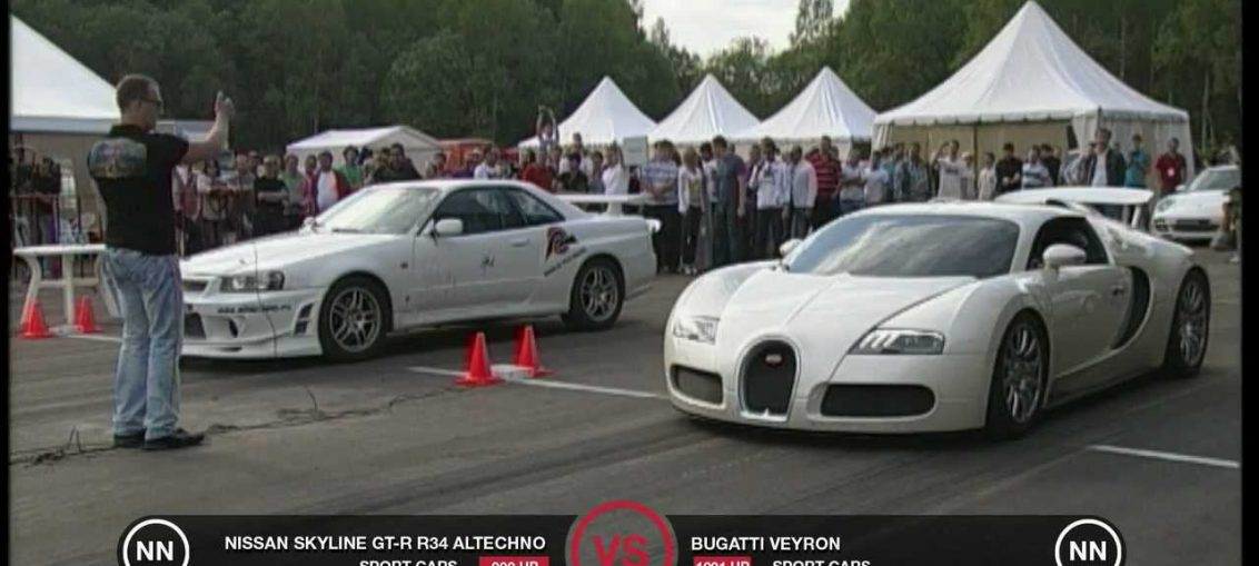Bugatti Veyron Vs Nissan Skyline Gt R R34 Turbo And Stance