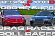 Supra vs Tesla dragrace rollrace
