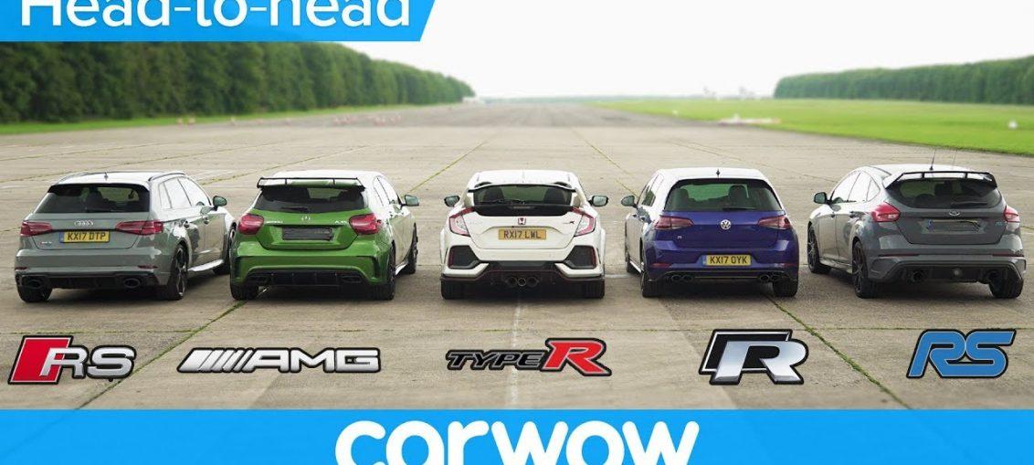 RS 3 v A45 AMG v Civic Type R v Golf R v Focus RS - DRAG & ROLLING RACE