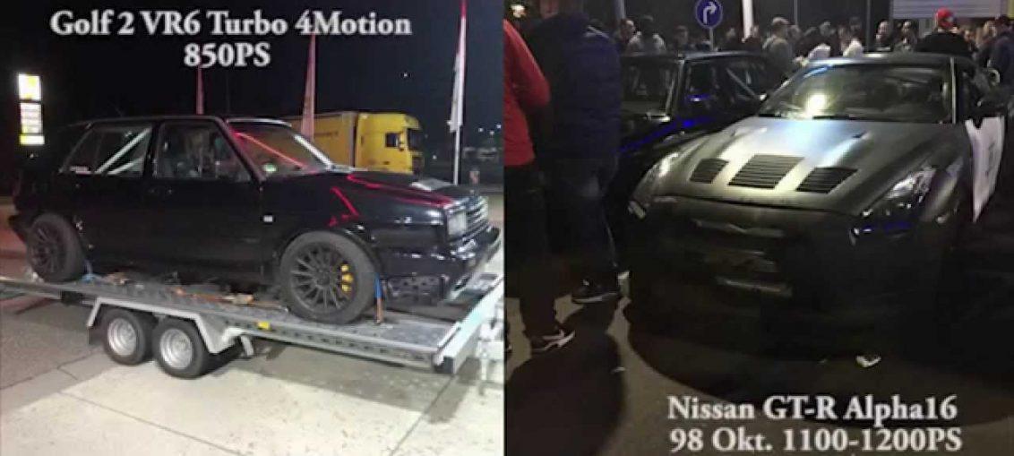 VR6 Turbo 850HP vs Nissan R35 GT-R Materialmord 1200HP
