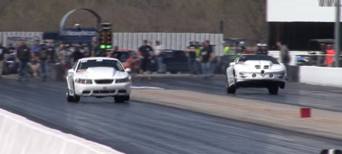 Pontiac Firebird drag race wheelie