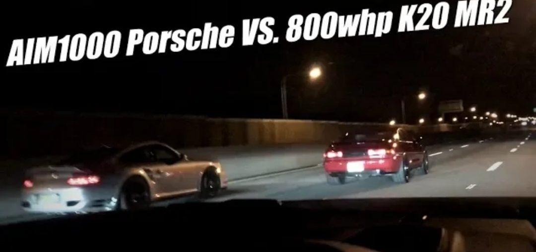 800whp K20 MR2 VS. AIM1000 997TT Porsche