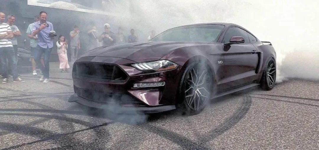Ford Mustang   V Royal Crimson Gt Brutal Revs Burnout Accelerations