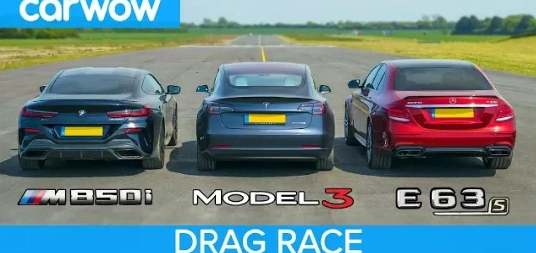 Tesla Model 3 vs BMW M850i vs Mercedes-AMG E63