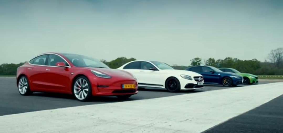 Tesla Model 3 vs Merc-AMG C63 S, BMW M3 & Alfa Giulia QV Drag Race