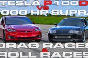 Supra vs Tesla dragrace rollrace