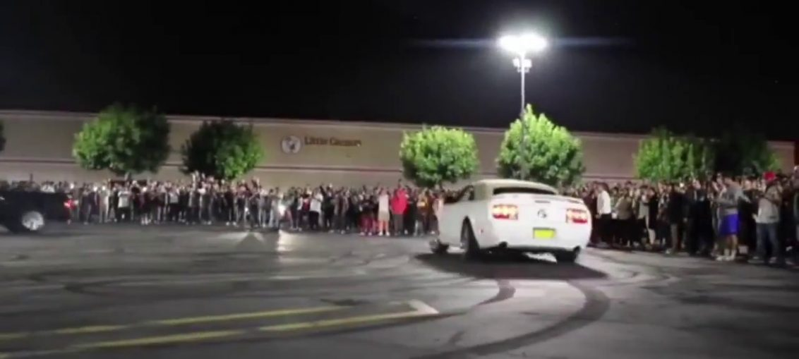 Mustang crash into crowd