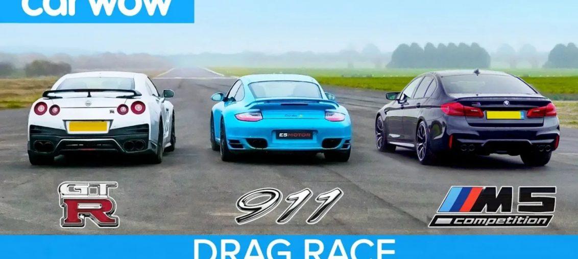 R35 GT-R Porsche Turbo BMW M5 drag race