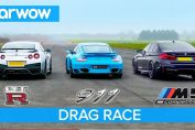 R35 GT-R Porsche Turbo BMW M5 drag race